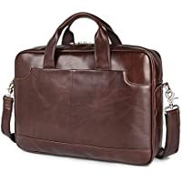 Augus Leather Laptop Briefcase for Men,Waterproof Travel Messenger Duffle Bags 15.6 Inch Laptop Bag
