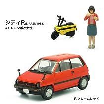 Nostalgic Hero ハチマルヒーロー 名車アーカイブ Vol.1 【3-B.シティR(E-AA型/1981)+モトコンポと女性(フレームレッド)】(単品)