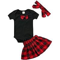 gllive Newborn Baby Girl Skirt Set Bow Black Romper Tops+Plaid Skirt+Headband Clothing 3pcs Outfit