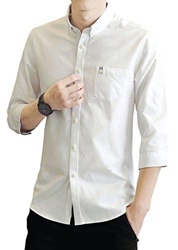 yシャツ メンズ オックスフォード シャツ メンズ 半袖 無地 春 夏 秋 SY-17011 (XL, 7011-BS)