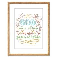 Quote Typography Motivation Da Vinci God Sells Labor Framed Wall Art Print