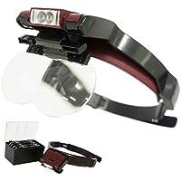 ヘッドルーペ ライト付き LED 拡大鏡 角度調整機能 メガネ OK 眼鏡 シニアグラス_75127