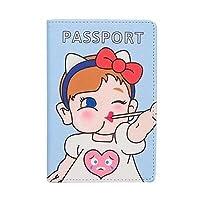 フライトチケット/ ID /名刺オーガナイザー/パスポートホルダーケースカバー、ケースコインウォレット財布ペンクリップ - オールインワンブックケース[防塵] かわいい漫画の女の子デザイン Flight Ticket / ID / Bussiness Cards Organizer / Passport Holder Case Cover, Case Coin Wallet Purse Pen Clip - All in one Book Case [ Dust proof] Cute Cartoon Girl Design (青)