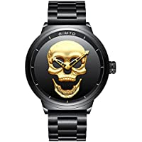 Creative Skull Men's Watch Cool Stainless Steel Big Dial Vintage Boy Quartz Military Wristwatch (Black Gold)