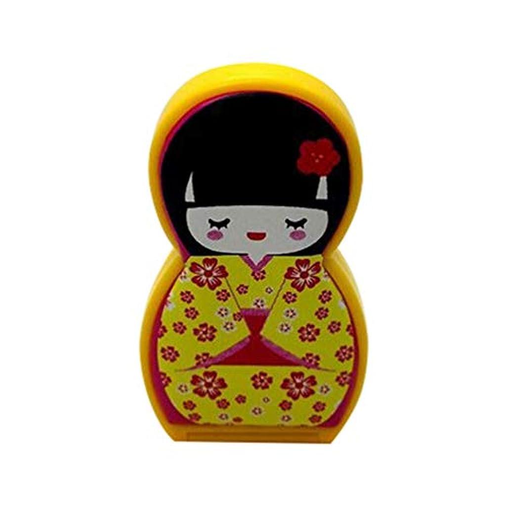 ランドマーク隔離する緩やかなHongma ネイルケアセット マニキュアセット 可愛い 日本人形 ロシア人形 グルーミングキット 爪やすり 爪切りセット 携帯便利 収納ケース付き (日本人形イェロー)