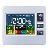 Nrpfell 液晶カラーディスプレイ付きデジタルの無線気象ステーション 天気予報屋内センサー付き温度湿度のモニター用 目覚まし時計H306