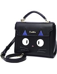 b20f1ec64e1f ミセ] ショルダーバッグ ハンドバッグ レディース ガールズ 猫柄 青 黒 斜め掛け かわいい オシャレ 2WAY