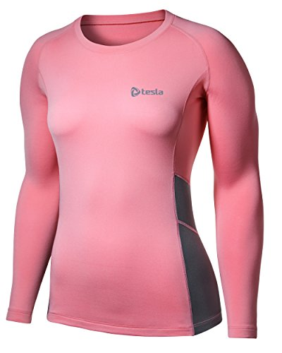 (テスラ) TESLA レディース 冬用起毛 長袖 スポ-ツシャツ [吸湿発熱・防寒・保温] コンプレッションウェア パワーストレッチ アンダーウェア