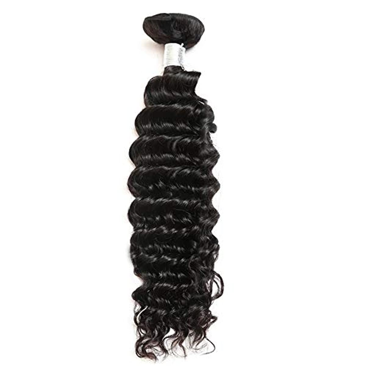 暖かくシャンプー推測HOHYLLYA ブラジルのディープウェーブ人間100%髪の束100g /バンドルナチュラルブラックカラーロールプレイングかつら女性のかつら (色 : 黒, サイズ : 28 inch)