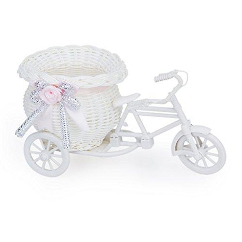 SODIAL(R)手作り三輪車/自転車の形のフラワーバスケットフラワーストレージ/アレンジメント用...