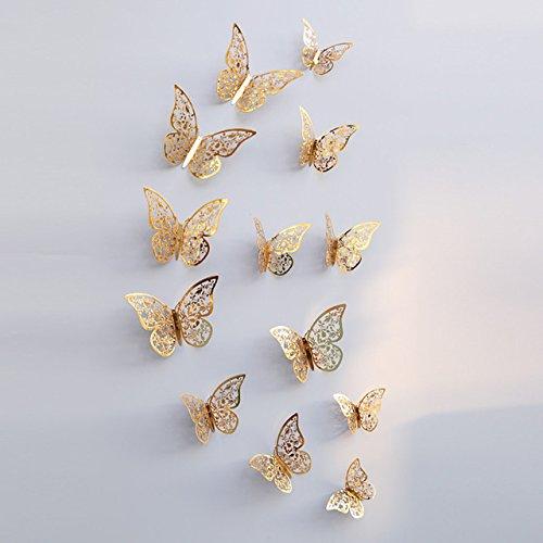 YideaHome ステッカー ウォールステッカー 3D蝶型貼り紙 華やかな壁紙 壁や冷蔵庫、寝室、リビング教室飾り用貼り紙 12匹