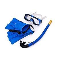ドライシュノーケル子供のゴーグルシュノーケリングスーツゴーグル水泳ゴーグルシュノーケル足首調節可能な3ピースセット用子供 (色 : 青, サイズ さいず : 25 yards - 30 yards)