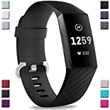 Hamile Bands Compatible with Fitbit Charge 3, Waterproof Watch Strap Fitness Sport Band Wristband for Fitbit Charge 3 & Charge 3 SE, Women Men, Large Small