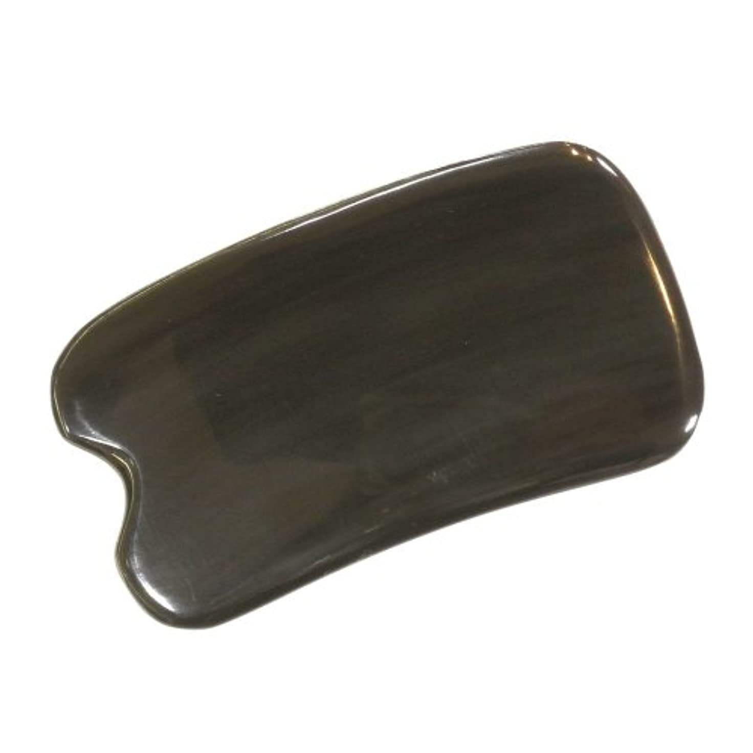 キャプションソロ。かっさ プレート 厚さが選べる ヤクの角(水牛の角) EHE273SP 黒四角凹 特級品 少し厚め(6ミリ程度) 大きめ穴無