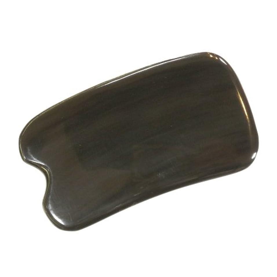 土器変なハンカチかっさ プレート 厚さが選べる ヤクの角(水牛の角) EHE273SP 黒四角凹 特級品 少し厚め(6ミリ程度) 大きめ穴無