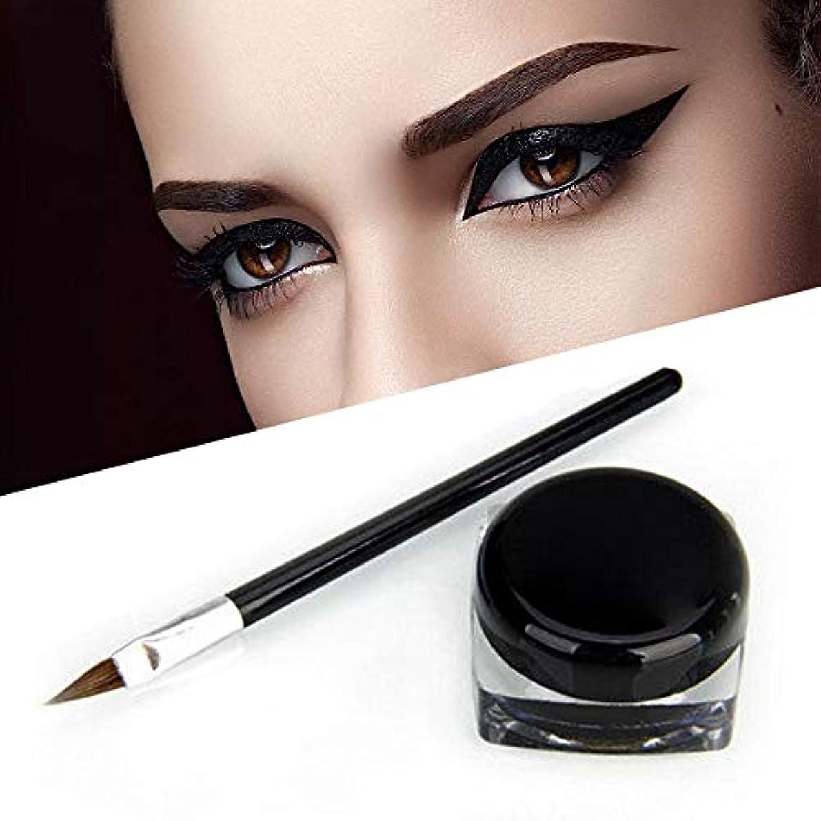 美容師口頭分析するSemperole - 2PC化粧品防水アイライナーペンシル黒のリキッドアイライナーシャドウジェルメイクをメイクアップ+ブラシブラック[黒]