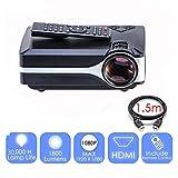 1800 Lumens LEDポータブルプロジェクタースマートビデオプロジェクター、フルHD 1080P、HDMI、VGA、AV、USB対応,Black
