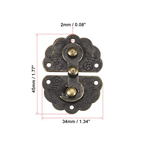 uxcell Wood Case Box Hasp 45x34mm Antique Latches Hook Bronze Tone, 2 Pcs