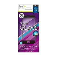 Simplism iPhone8 / iPhone7 ブルーライト低減 フレームガラス フィルム ブラック