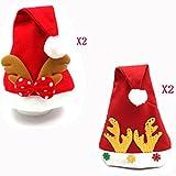 4個TraditionalレッドandホワイトPlush Christmas Santa Hat with Plush Trim子供用大人( 2のスタイル)