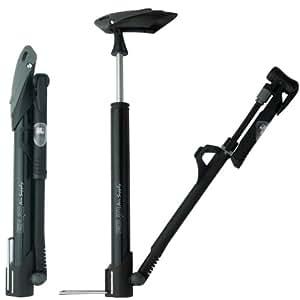 GIYO(ジーヨ) 携帯用マイクロフロアポンプ [GM-71] ブラック IN-LINEゲージ 仏・米・英式バルブ対応  英式口金クリップ付属