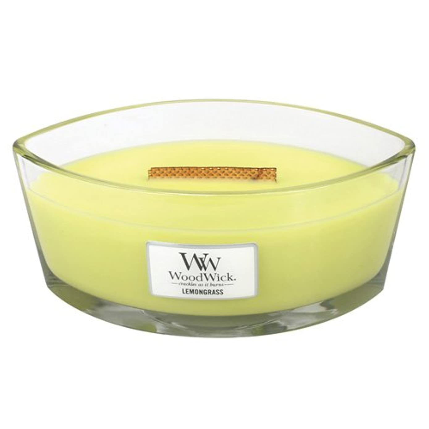 品種狂った請うレモングラスLily HearthWick Flame Large Scented Candle by WoodWick