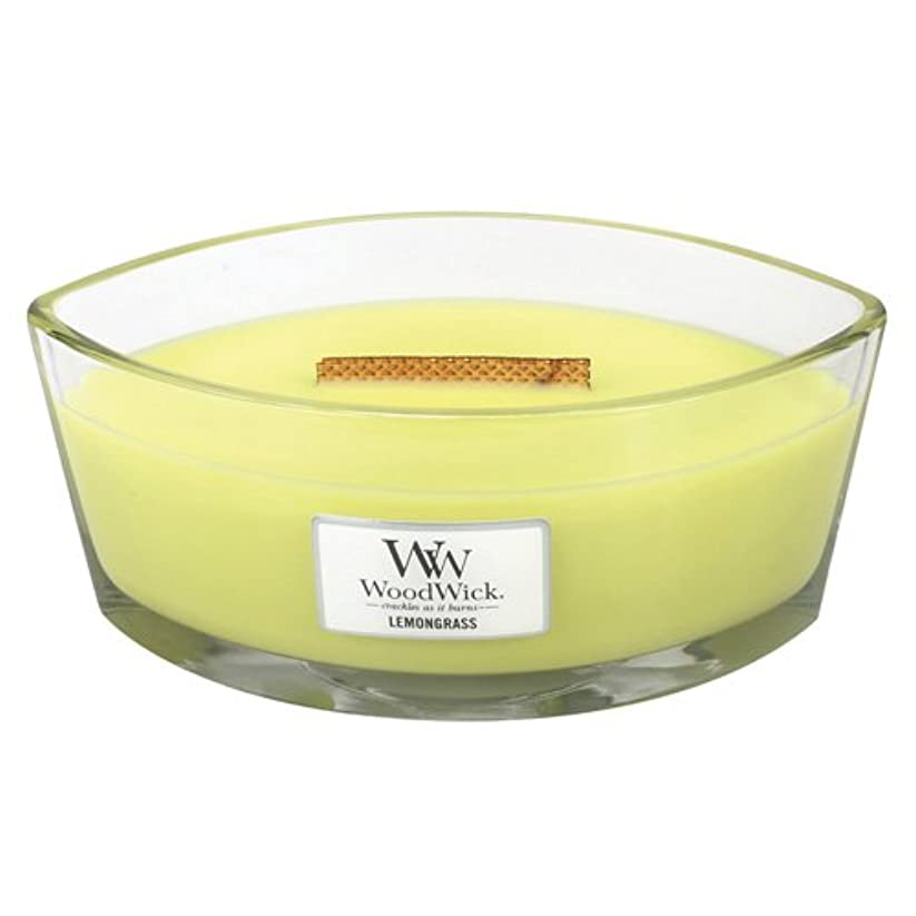 バスルーム時折ランプレモングラスLily HearthWick Flame Large Scented Candle by WoodWick
