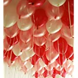 【Fuwari】 極厚 バルーン バレンタイン 光沢 風船 100個 (+予備バルーン20個)  空気入れ  リボン セット 運動会 学園祭 結婚式 誕生日 パーティー 卒業式 入学式 イベント  ハロウィン 飾り付け (レッド+ホワイト+ライトピンク)