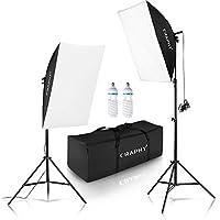 CRAPHY 写真照明用セット ソフトボックス 写真スタジオ照明キット 肖像用 撮影用 連続照明(50x70 cmソフトボックス + 高さ2Mライトスタンド +2x 85w 電球 + キャリングバッグ)