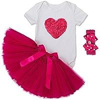 ALLAIBB ベビー服 女の子 半袖 ロンパース チュチュスカート バラ色 ヘアバンド 3点セット 誕生日 出産祝い 愛心柄 XL