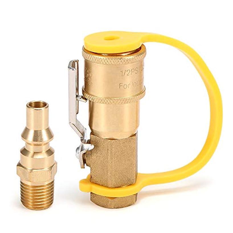 印象的アロング自信があるRakuby ソリッドブラス 1/4インチ RV プロ パンコネクトアダプター プロ パン/天然ガスクイックディスコネクトキット シャットオフバルブ付き