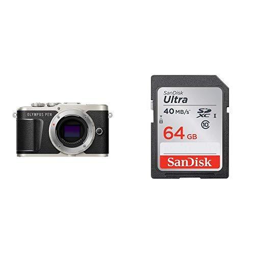 OLYMPUS ミラーレス一眼 PEN E-PL9 ボディー ブラック + SanDisk エコパッケージ サンディスク ウルトラ SDXCカード 64GB Class10 UHS-I 読取り最大40MB/秒 SDSDUNH-064G-GHENN 10年保証