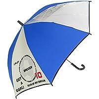 風に強い グラスファイバー骨 ビニール窓付 見通しの良い 安全 かっこいい サッカー駒替 58cm ジャンプ傘 160cmくらいまでのお子様に最適 (ブルー)