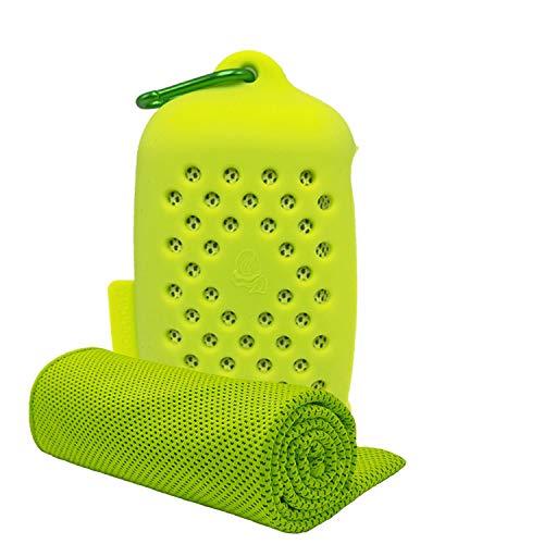 ASKARI 冷感タオル 冷却タオル クールタオル 速乾タオル 超吸水 軽量 スポーツタオル 熱中症対策 100×30cm 7色 (緑)