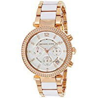 Michael Kors Women's Parker Chronograph White With Gold 39mm Crystal Bezel Dial Stainless Steel Watch MK5774