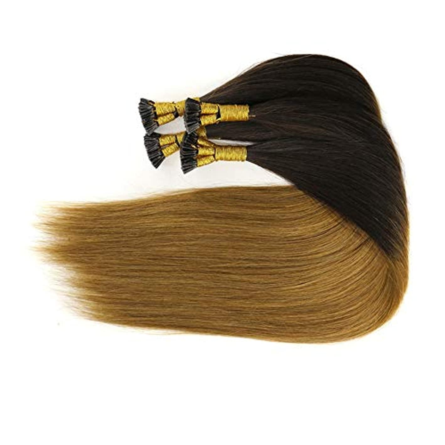 ヒップ絶対に誘惑するWASAIO ヘアエクステンションクリップUnseamed髪型オンブルブラウンサワー根ざしたブラジルの人間レミーヘアエクステンションナノリングヘアエクステンション (色 : ブラウン, サイズ : 16 inch)