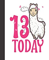 Composition Notebook: Llama Birthday Girl Cute Pink Party Favors Age 13 | Wide Ruled Notebook | Lined Journal | 100 Pages | 7.5 X 9.25"