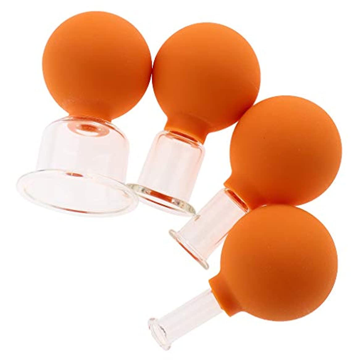 チーフ平日フェードアウトdailymall 4セットガラス真空マッサージフェイスアイカッピングカップアンチセルライト - オレンジ