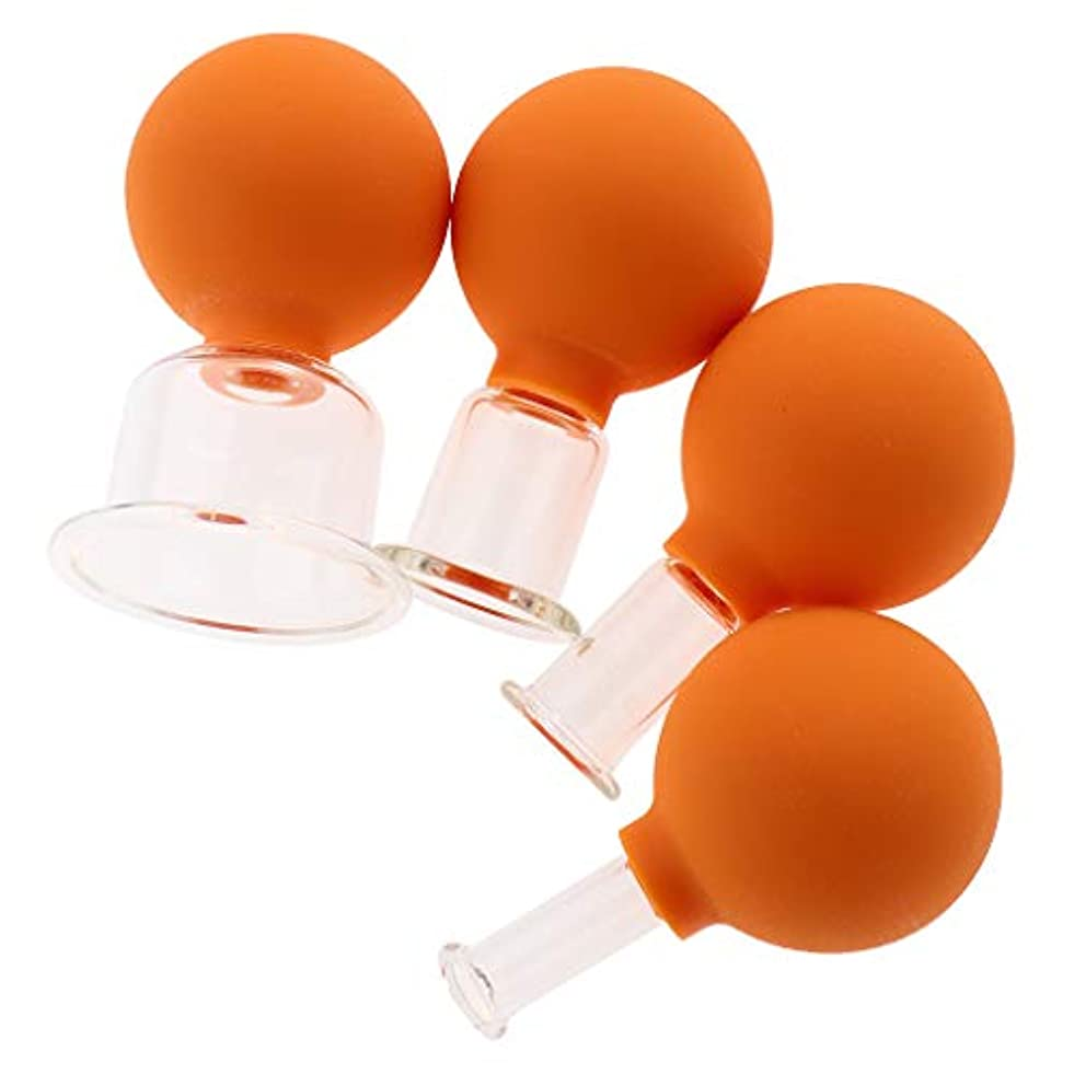 寺院立法汚染CUTICATE 全3色 マッサージカップ ガラスカッピング 吸い玉 マッサージ カッピングセット 4個入 - オレンジ