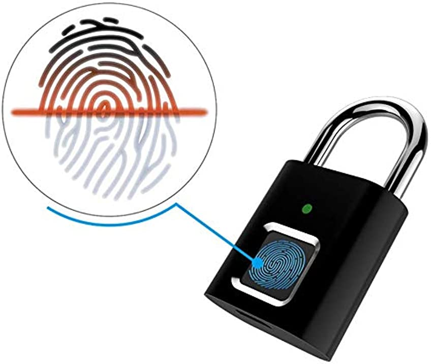 わずかな怖がって死ぬ模倣指紋南京錠 - スマートロック盗難防止キーレスバイオメトリクスセキュリティロック、ジム/荷物バックパック/従業員ロッカー用のUSB充電、