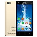 SIM フリー本体 携帯電話・スマートフォン本体 android 7.0 V·Mobile A10 5MP デュアルカメラ 5.0インチ HD スクリーン スマホ 3G クアッドコア 8GB ROM 2800mAh バッテリー をサポート デュアルSIM WIFI GPS Bluetooth (ゴールデ)