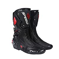 プロテクトスポーツブーツ メンズオートバイ靴 レーシングブーツ バイクブーツ SPEED BIKERS 45サイズ (27.5-28cm) ブラック