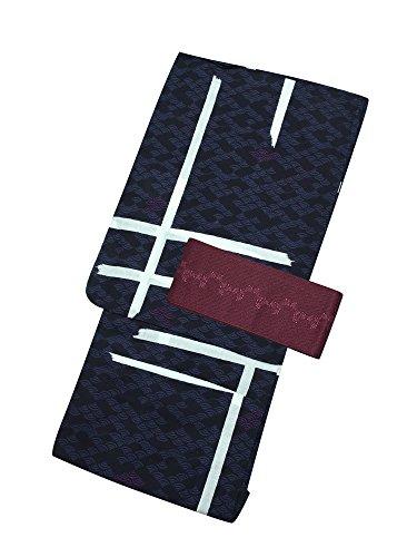 [ 京都きもの町 ] 男性 浴衣2点セット 紫破れ格子 LL