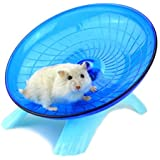 Meiyiu Cute Mute Hamster Toy Stable Flying Saucer Jogging Exercise Wheel Roller Blue
