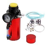 Homyl 汎用 オイルキャッチタンク 圧力計付き - 赤