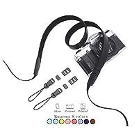 カメラ ネックストラップ,Fukalu レザー シンプル ショルダー ストラップ 一眼レフ/デジタルカメラ用 ネックストラップ Nikon Olympusなど対応 (ブラック)