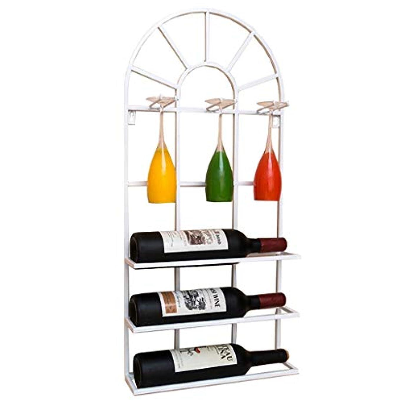性格キャンドルバイオレットロフト壁掛け棚金属鉄壁掛けストレージワインラックワインボトルとグラスホルダーフレームワインステムウェアホルダーゴブレットラック-35 * 9 * 75cm(3色)(色:白)