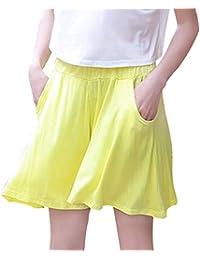 【TaoTech】モダール キュロット パンツ ゆったり 無地 ウエストゴム ワイドパンツ 体型カバー