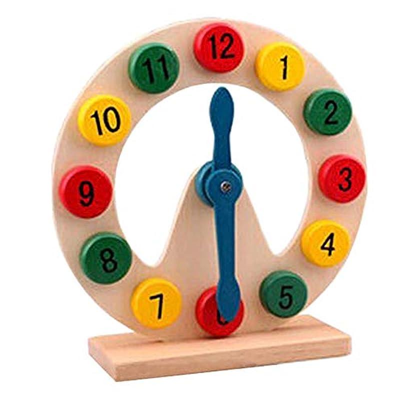 に渡って注意案件FLORMOON木製学習時計大きな教育時間12時間番号ブロッククロック基本的なマッチの開発早期教育玩具3 4 5 6歳