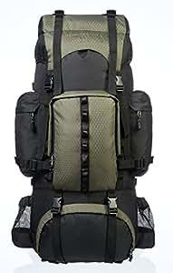 Amazonベーシック インターナルフレーム ハイキング バックパック レインフライ付属 55L グリーン